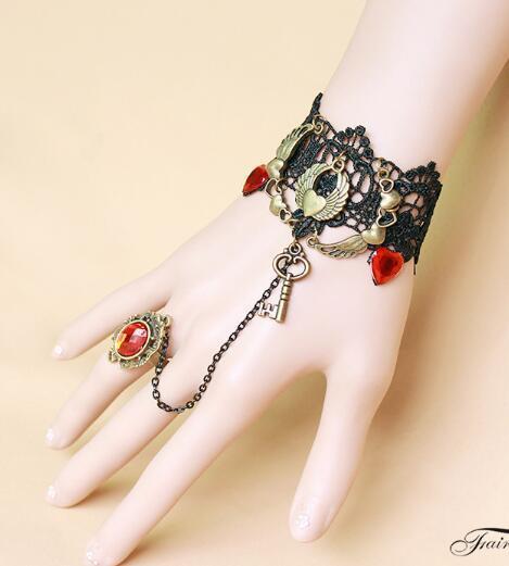 Caliente nueva moda alas de ángel de encaje sexy lady pulsera banda anillo integración de moda clásica delicada elegancia