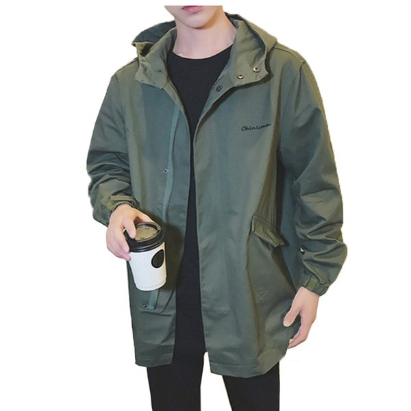 Army Green Trench Coat Men Korean Style Fashion Clothing Male Hooded Trench Coat Jacket Mens Vintage Windbreaker High Street