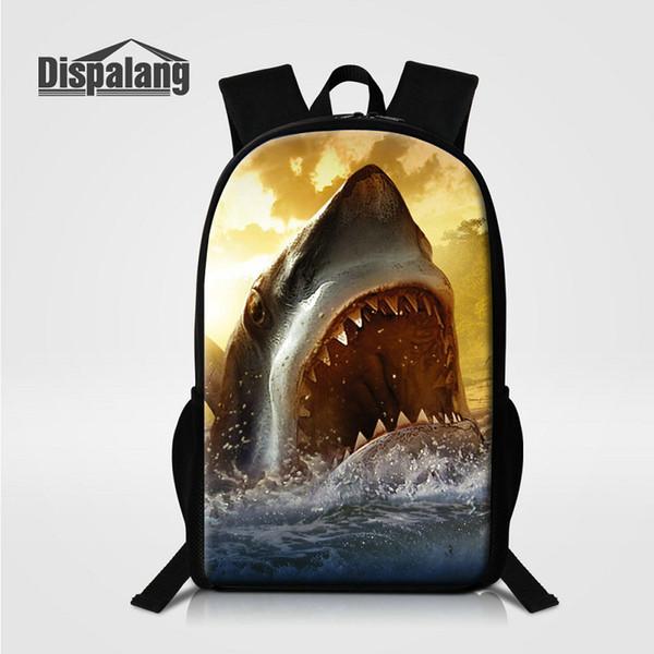 16 Inch Large School Bags For Primary Students Shark Fish Animal Children Backpack Men's Travel Shoulder Bag Rucksack Lizard Mochilas Rugtas