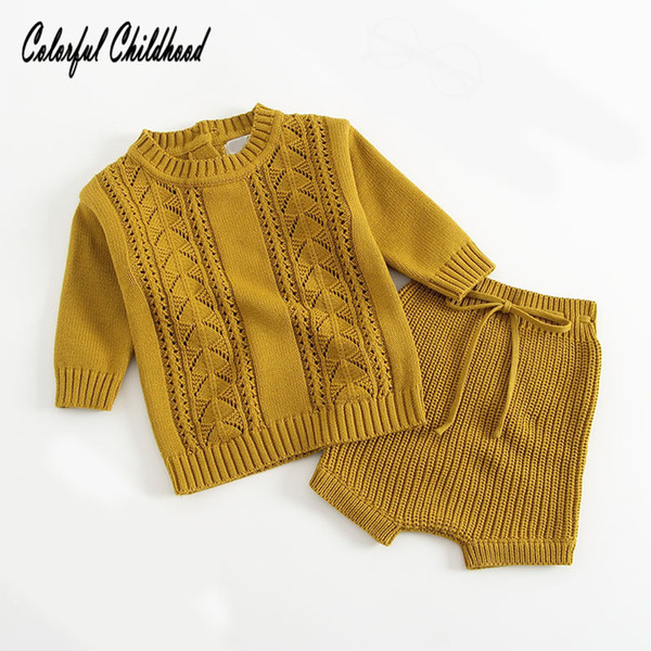 Newborn baby clothes autumn winter cotton knitted long sleeve coat+shorts 2pc sets infant boy/girls suit toddler clothing sets Y18102207