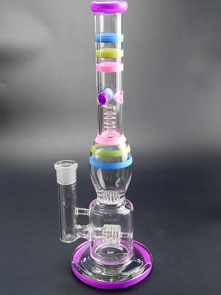 14 pulgadas Big Candy Smoking Bongs 18.8 mm Tres capas Percoladores triples Buen sistema de filtración Arco iris recto Tubos de agua de vidrio Dab Rigs