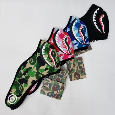 3 adet / grup Cadılar Bayramı Camo Köpekbalığı Ape Adam Ağız Maskesi Hip Hop Solunum Siyah Maskeleri Parti Malzemeleri Cosplay Çok Renkler Aape