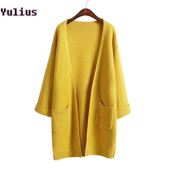 2018 ulzzang Girl Casual Long Knitted Cardigan Autumn Korean Women Loose Solid Color Pocket Design Sweater Jacket Pink Beige Y1891102