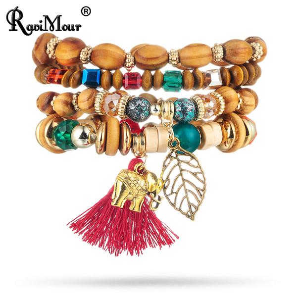 Femmes Éléphant Coloré Tassel bracelets bracelets Multicouche En Bois Perles
