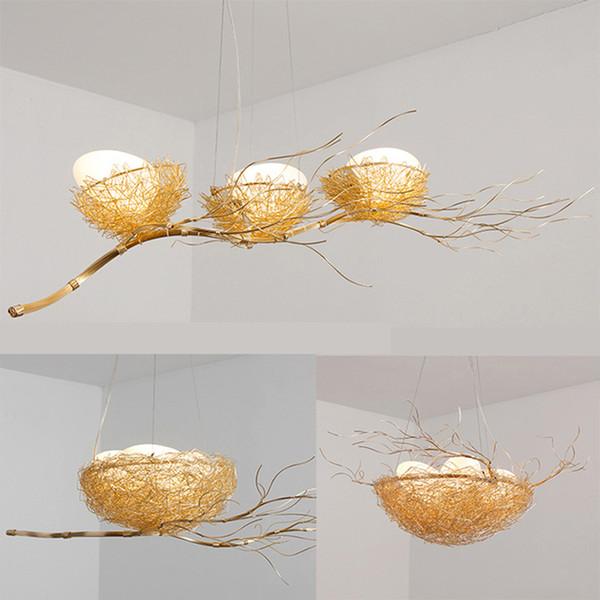 Personnages créatifs tissés à la main nid lustres restaurant pendentif lumières nordique art créatif lustre salle à manger postmoderne nid