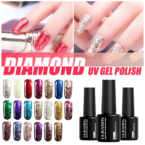 Huration 8ml Professional 3D Diamond Semi Permanent Base Coat Art Glitter UV LED Soak Off Nail Gel Polish Use Top Gel Varnish