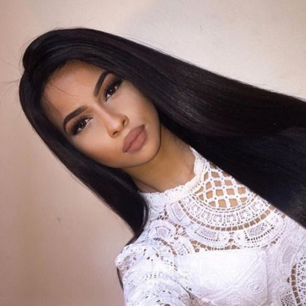 Unprocessed Brazilian Human Hair Silk Top Full Lace Wigs Long Straight Glueless Silk Base Lace Front Wigs With Baby Hair For Black Women
