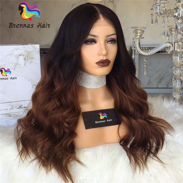 Ombre Two Tone #1B 30 middle brown human virgin hair realistic front lace wigs unprocessed natural hairline glueless wig for black women USA