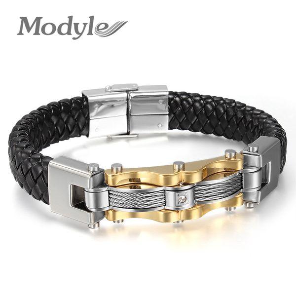 2018 Nouvelle arrivée en cuir SilverGold-Color Hommes Bracelet Mode Homme Vintage Accessoires Bracelet Hommes Bijoux