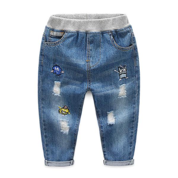 Boys Autumn Pants Denim Children Jeans for Kids Cartoon Cotton Elastic Waist Jeans Boys Trousers Casual Hole Jeans