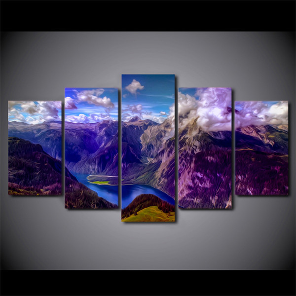 HD Printed 5 Piece Canvas Art Canyon Scenery Modern Canvas Prints Wall Pictures for Living Room Free Shipping NY-7487B