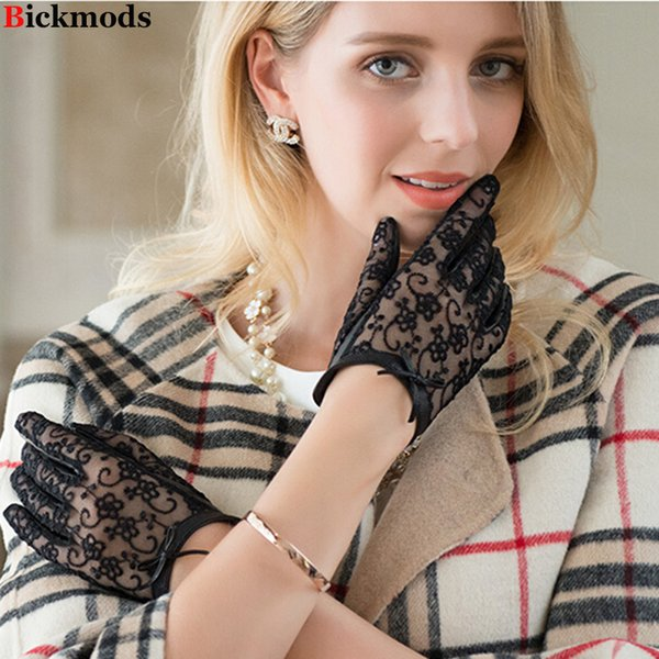 Lace touch screen gloves women's thin sheepskin gloves variety of colors 2018 New short bow knot female leather driver