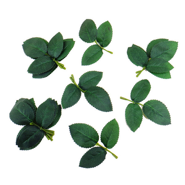 best selling 1000pcs Green Silk Rose Leaves Artificial Flower Vine Leaves for Wedding Home Decoration DIY Rose Leaves