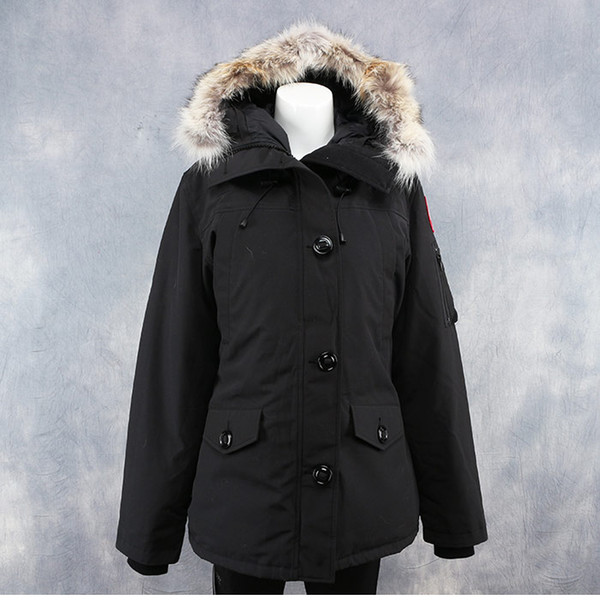 Women Parkas WINTER CANADA MONTEBELLO-2 GOOSE Down & Parkas WITH HOOD/Snowdome jacket Brand Real Raccoon Collar White Duck Outerwear & Coats