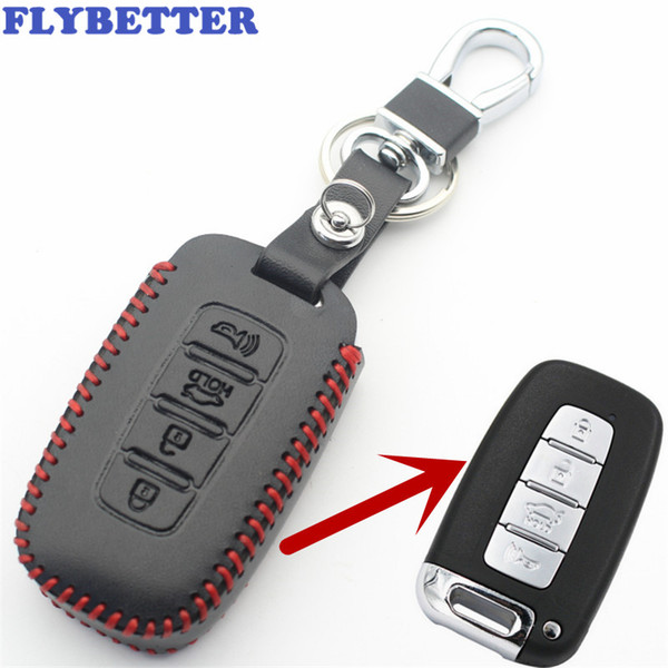 FLYBETTER Genuine Leather 4Button Smart Key Case Cover For Hyundai Accent/Elantra/IX35/Genesis/Coupe/Sonata Car Styling L2173