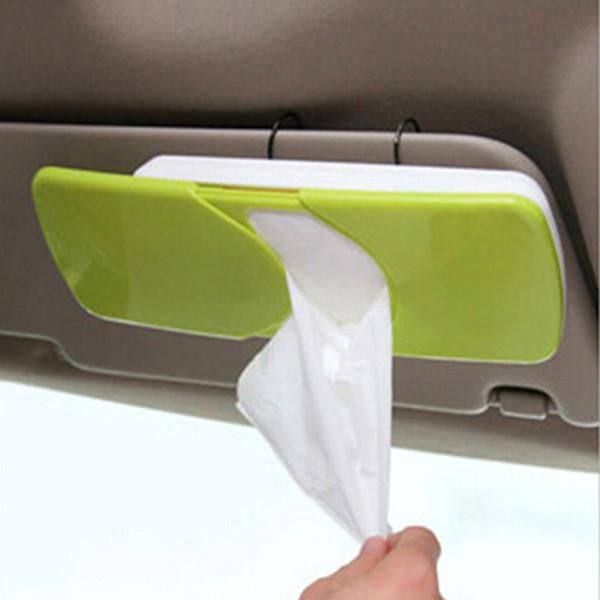 Car Tissue Box Universal Car Sun Visor Plastic Tissue Box Slide Cover Paper Napkin Holder Sunshade Paper Towels Red Green Ora