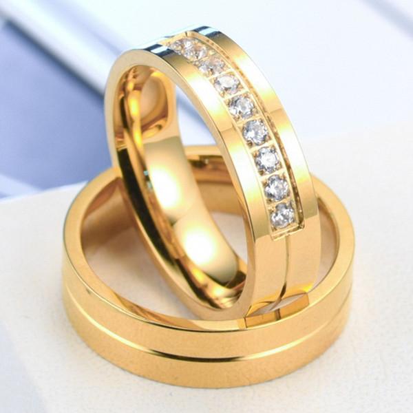 Diamantes de aço inoxidável moda casais anel homens e mulheres de Ouro ou prata banhado a titanium zircon anel set / 2piece jóias festa de casamento