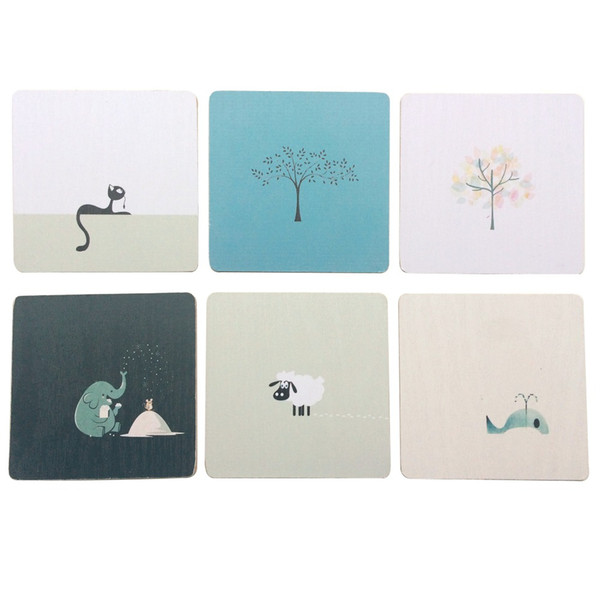 Set of 6 Cartoon Painting Texture Wood Cup Mats Square/Round Vivid Table Insulation Pads Coffee Mug Coasters Kitchen Decoration