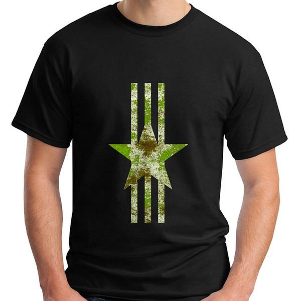 Print Tees Short Sleeve O-Neck New Military Green Camo Star Logo White Stripes Conservative Men's Black T-Shirt