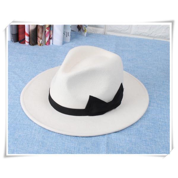 Mayorista y minorista nueva moda de invierno de lana de las mujeres sombrero de copa sombrero blanco sombrero de ala ancha envío libre