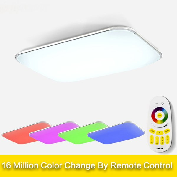 Plafoniera Led Rgb.2019 Modern Led Ceiling Lights For Living Room Square Lustres Plafoniera Led Dimmer Rgb Ceiling Lamps Bedroom Luminaria Teto Remote From Dpgkevinfan