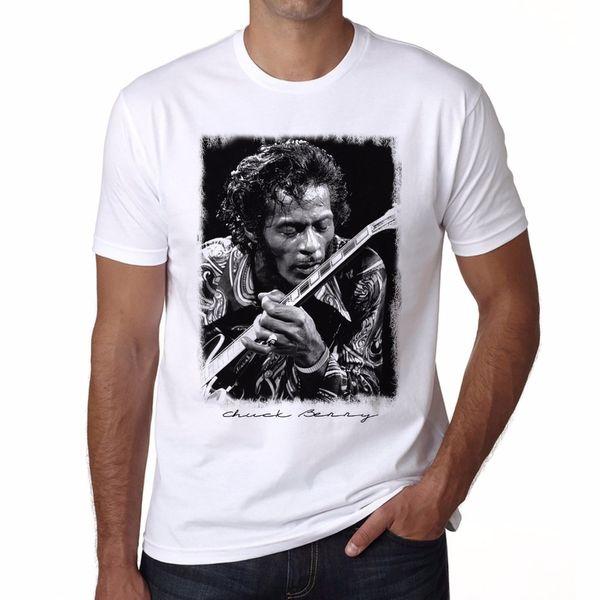 Graphic T Shirts Short Sleeve Broadcloth Chuck Berry Printing Tshirt Men Rock T-Shirt, Crew Neck Mens T Shirt