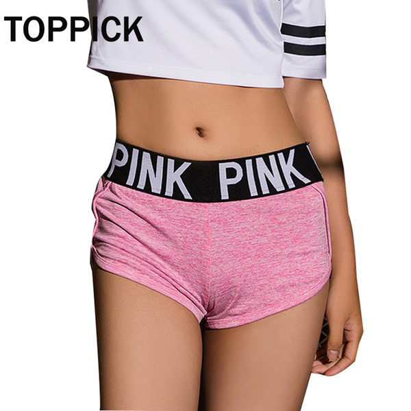 Pink Letter Gym Shorts Women Yoga shorts Fitness Yoga For Women Workout Run Slimming Low Waist Sport Short Pants