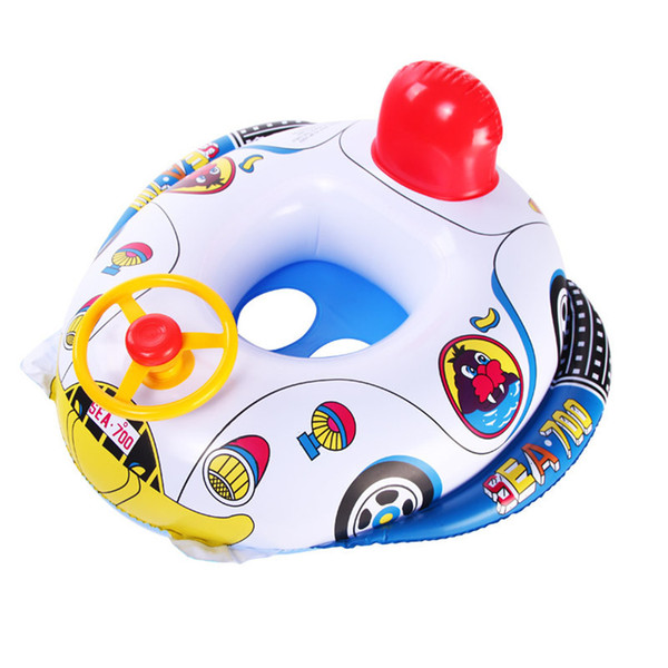 Pool Ring Inflatable Child laps Swim Seat Float Boat Baby Swim Water SportNew Cute Baby Car Shape Aid Trainer with Wheel Horn