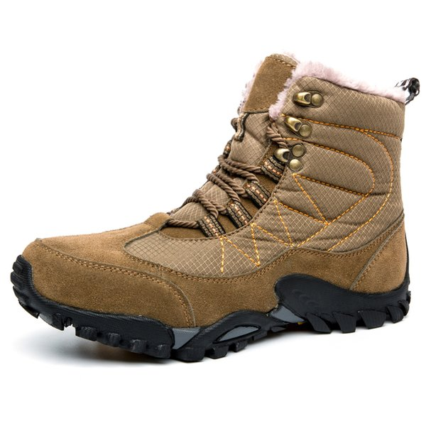 Winter Warm Snow Boots Men Shoes Fully Fur Lined Ankle Bootie Waterproof Outdoor Hiking Walking Casual Fashion Sneakers Plus Size