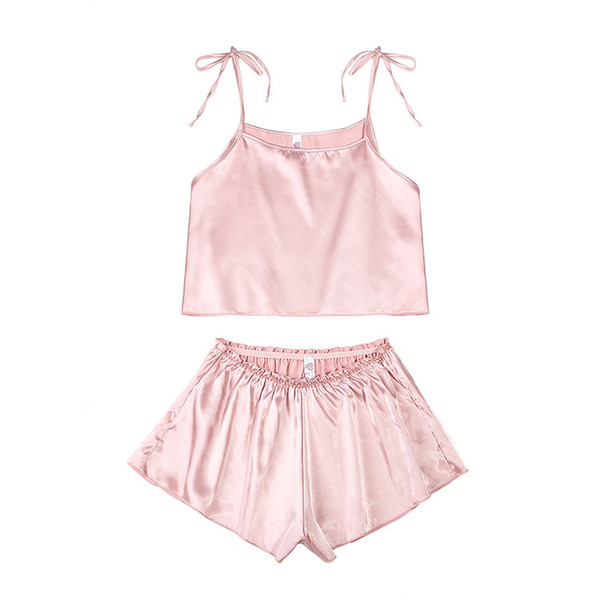 Pink Stain Silk Spaghetti Strap Lace Applique Satin Cami Top and Shorts Pajama Set Fall Womens Sleepwear Pajama Set