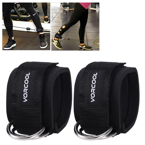 2pcs Sport Ankle Straps Padded D-ring Ankle Cuffs for Gym Workouts Cable Machines Leg Exercises with Carry Bag (Black)