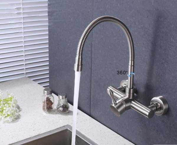 SUS 304 Bathroom Kitchen Sink Faucet Hot Cold Swivel Spout Nozzle Mixer Brushed Nickel Two Functions Sprayer Single Handle Wall Mount Tap