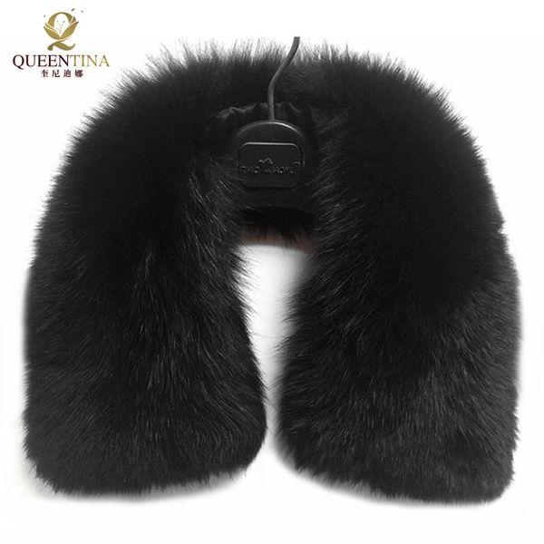 Hot Sale Real Fur Fox Fur Collar Black Women Scarf Shawl Collars Wraps Shrug Neck Winter Warm Ring Fur Scarf Female Wholesale Y18102010