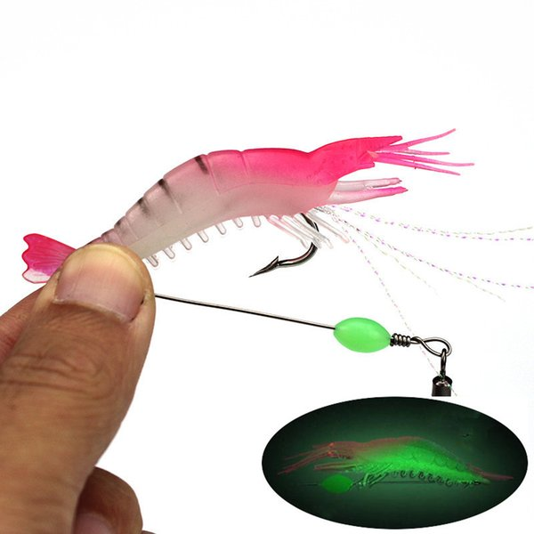 10pcs 9cm 5.5g Pink Luminous Shrimp Hook Fishing Hooks Fishhooks Soft Baits & Lures Artificial Bait Pesca Fishing Tackle Accessories