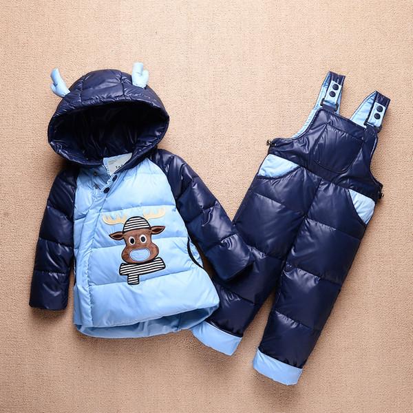 Großhandel Winter Baby Jungen Daunenjacken Kinder Schneeanzug Kinder Overalls Skianzug Jungen Daunenjacke Oberbekleidung Mantel + Hose Kleidung Set