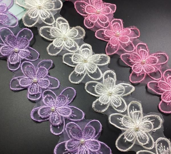15Yard Flower Pearl Organza Lace Fabric Trim Ribbon For Apparel Sewing DIY Bridal wedding Doll Cap Hair clip