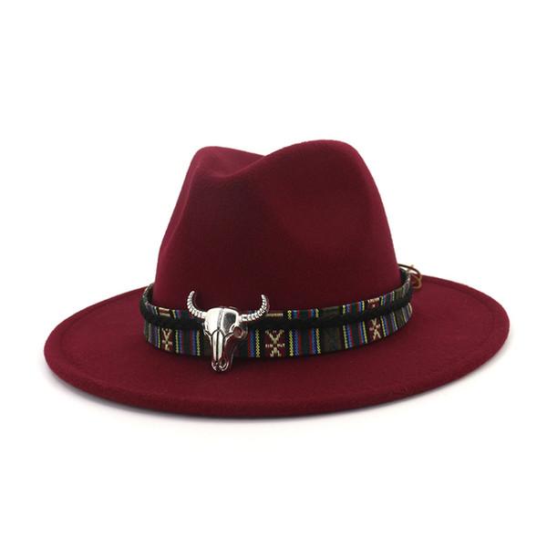 Unisex Wide Brim Cowboy Fedora Hat Bull Head Decoration Men Women Wool Felt Trilby Gambler Hats Jazz Panama Caps