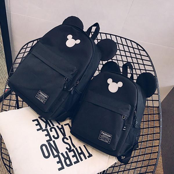 HJKL Kids School Backpack Women Travel Ears Backpacks Canvas Girls Rucksack School Bag Black for Teenagers