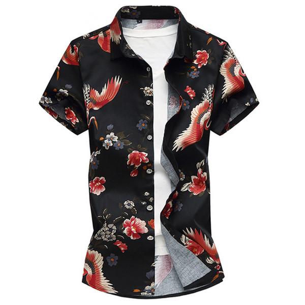 M-7XL Yaz Moda erkek Gömlek Slim Fit Kısa Kollu Çin Tarzı vinç Baskı Gömlek Mens Artı Boyutu Rahat Pamuk Gömlek Erkekler M3-191