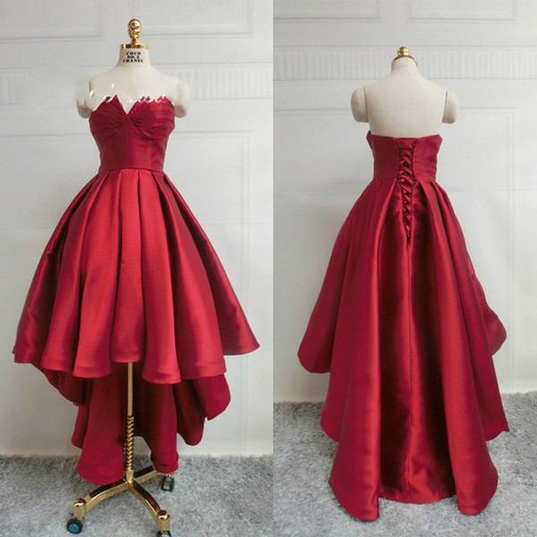 Real Photo Red Cocktail Dresses Short Front Long Back Taffeta HI-lo Evening Gowns Special Occasion Homecoming Dresses Custom Made Online