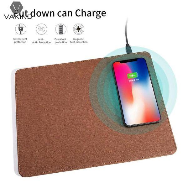 VAKIND Nueva Creative Mouse Pad de carga de 1pcs para 5V-1.5A Teléfono móvil Qi Wireless Charger Mousepad para S9 S6edge