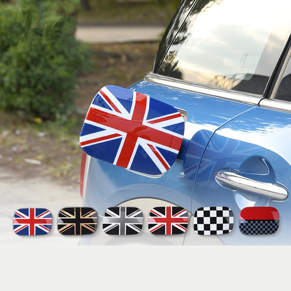 Union Jack Checker Auto Fuel Tank Cap Decoration Case Cover Sticker For Mini Cooper Countryman F60 2017 2018 Car Exterior Styling