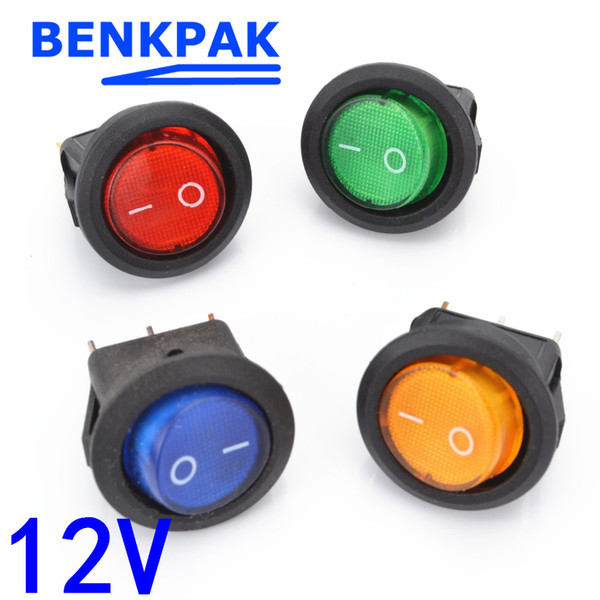 4pcs 12v led illuminuted rocker switch 20a 12v push button switch car button lights on/off round rocker dash boat