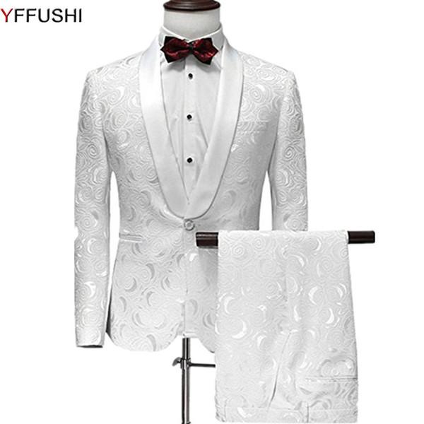 YFFUSHI Hombres Traje de Un Botón 2 Unidades Trajes de Jacquard Blancos con Pantalones de Esmoquin Chal Chal de Boda para Hombres Vestido de Fiesta S18101902