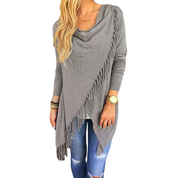 New Fashion Knitted Cardigan Women Slim Winter Spring Cape Poncho Oversized Sweater Tassel Coat Women Top Outerwear White/Gray