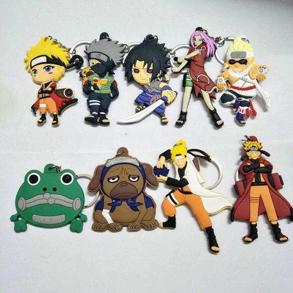 Yeni Naruto Aksiyon Figürleri Anahtarlık PVC Mini Rakamlar Naruto Anahtar Yüzükler karikatür Kolye Moda Takı MMA637