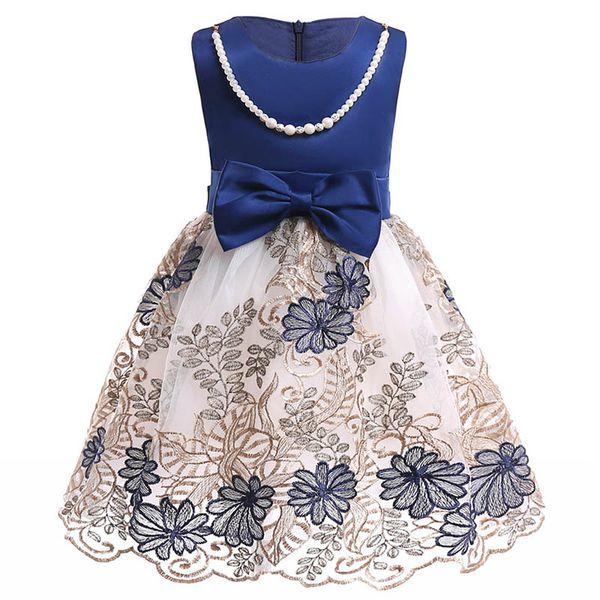 2018 summer Flower Girl Dresses Vintage Jewel Sash Lace Net Baby Girl Birthday Party Christmas Communion Dresses Children Girl Party Dresses