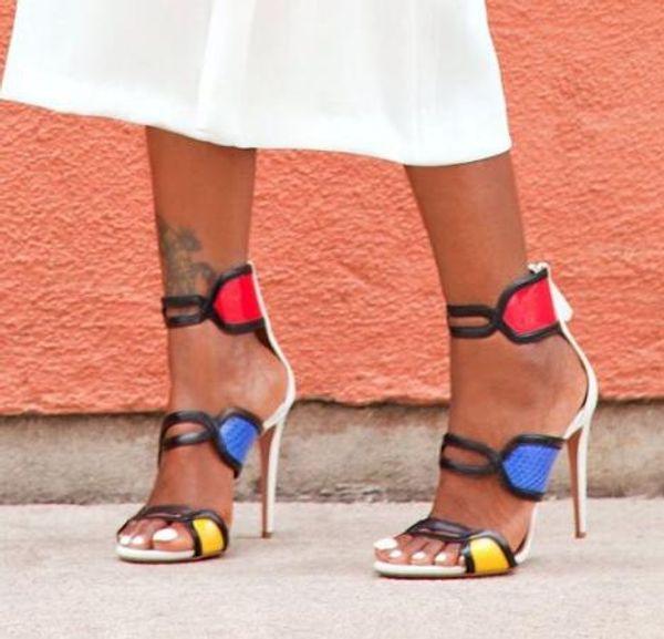 New Fashion Colori misti Cut-Out Stivaletti di alta qualità Peep Toe Plus Size Pompe donna Sexy tacchi sottili Sandali donna