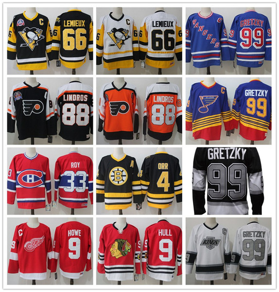 best service 0d558 0f8c1 2019 NHL Jerseys 9 Gordie Howe HULL 99 Wayne Gretzky 66 Mario Lemieux ROY  LINDROS ORR Jersey Authentic Hockey Stitched Jersey From ...