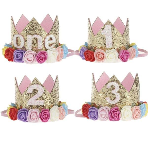 Crown Bunte Blumen Baby Mädchen Jungen Geburtstag Hut Ein Jahr Priness Hut Haar Zubehör Geburtstag Party Decor Liefert